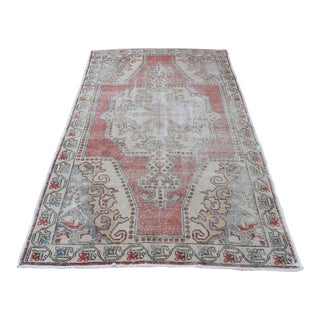 """Distressed Turkish Hand-Knotted Oushak Vintage Rug - 4'6"""" X 7'5"""""""