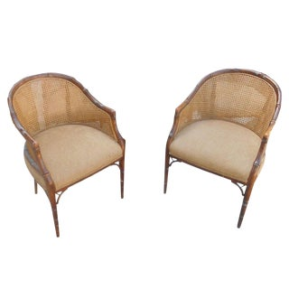Faux Bamboo & Cane Barrel Club Chairs - A Pair
