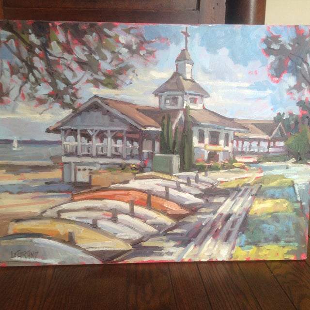 "Bright, Multicolored ""Lakeside Pavilion"" Original Oil Painting - Image 11 of 11"