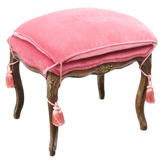 Louis XVI Style Carved Upholstered Bench