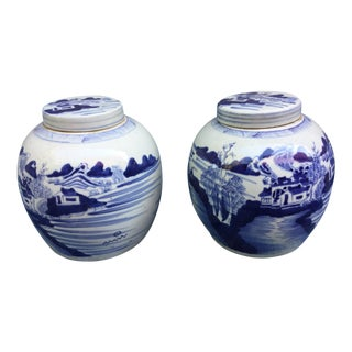 Chinese Countryside Scene Ginger Jars - A Pair