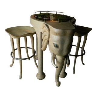 Marge Carson Elephant High Table & Stools - Set of 3