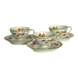 Vintage Demitasse Floral Cups & Saucers - 6 Pieces