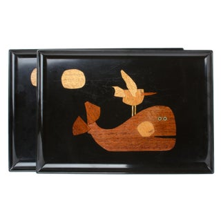 Couroc of Monterey Whale, Seagull and Moon Serving Trays - Pair
