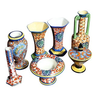 Grouping of Colorful Hand-Painted Czechoslovakian Ceramics