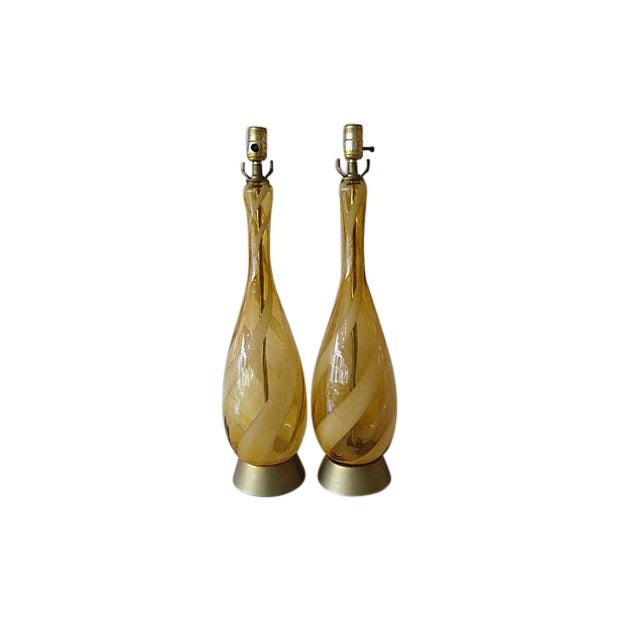 Image of Mid-Century Murano Glass Swirl Table Lamp - Pair