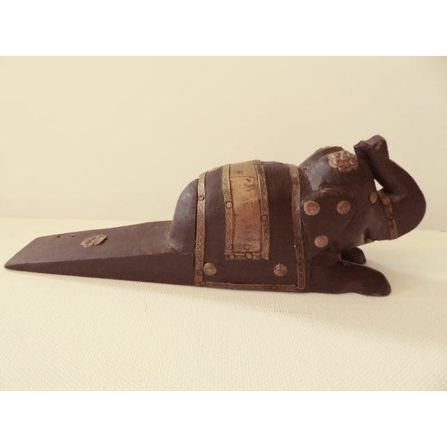 Image of Vintage Elephant Wooden Door Stopper