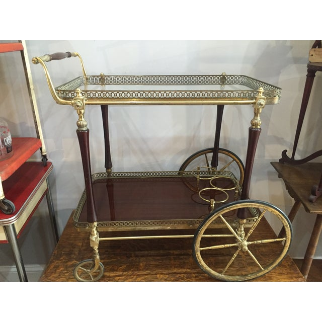 1880s French Brass Bar Cart - Image 2 of 5