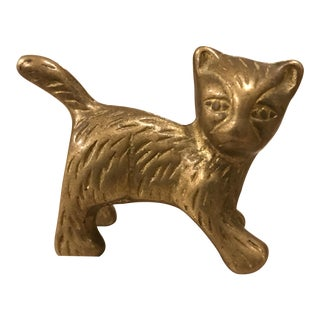 Vintage Brass Cat Paper Weight