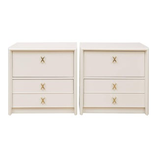 Paul Frankl Ivory Lacquered Nightstands - a Pair