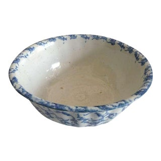 Large 19th Century Fluted Spongeware Bowl
