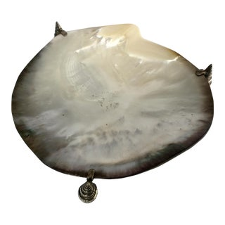 Mother of Pearl Oyster Shell & Silverplate Bowl