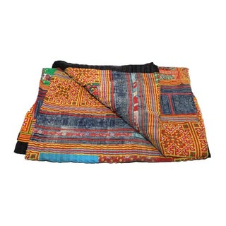 Red, Blue & Orange Hmong Blanket