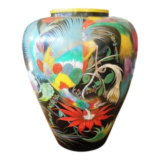 """Vintage 26"""" Grabber Tonala Mexican Pottery, Bird of Paradise , Feathered Barro Dulce Sweet Water Urn, Hand Painted Burnished"""