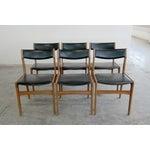 Image of 1960's Danish Black Vinyl Dining Chairs- Set of 6