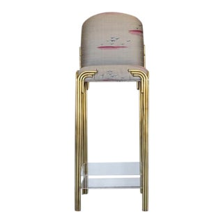 Vintage Printed Silk Upholstered Lucite & Brass Bar Stool