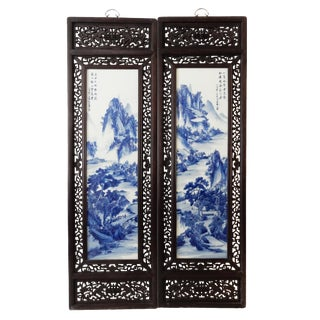 Blue and White Porcelain Wood Panels - A Pair