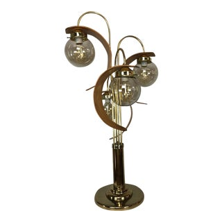 Teakwood Accent Globe Table Lamp