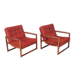 "Milo Baughman Vintage ""Cube"" Lounge Chairs - A Pair"