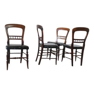Antique Victorian Hairpin Back Dining Chairs - Set of 4