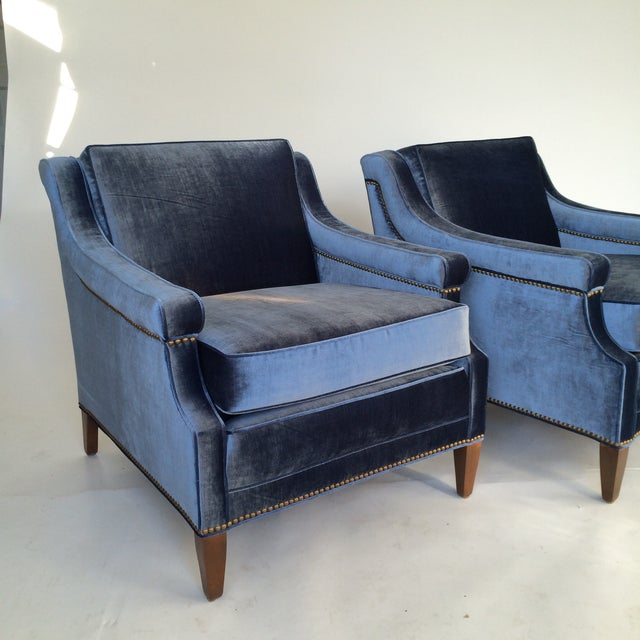 Mid-Century Blue Velvet Club Chairs - A Pair - Image 7 of 10