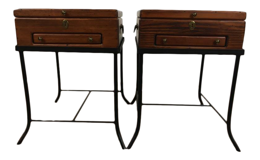 wooden trunk style end tables a pair