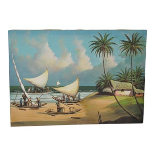 Vintage Island Oil Painting by Balikian