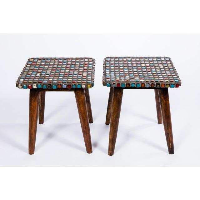 Tiled Teak Side Tables - A Pair - Image 2 of 6