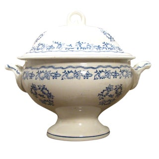 French Blue & White Transferware Tureen