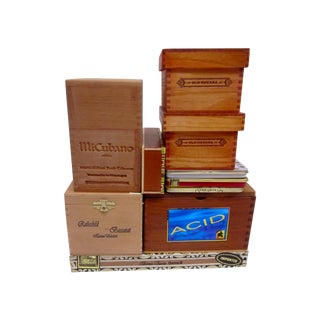 Old Wood Cigar Boxes and Tins