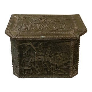 Antique Metal Stamped Overlay Firewood/Kindling Box Bin Chest France Trunk Chest