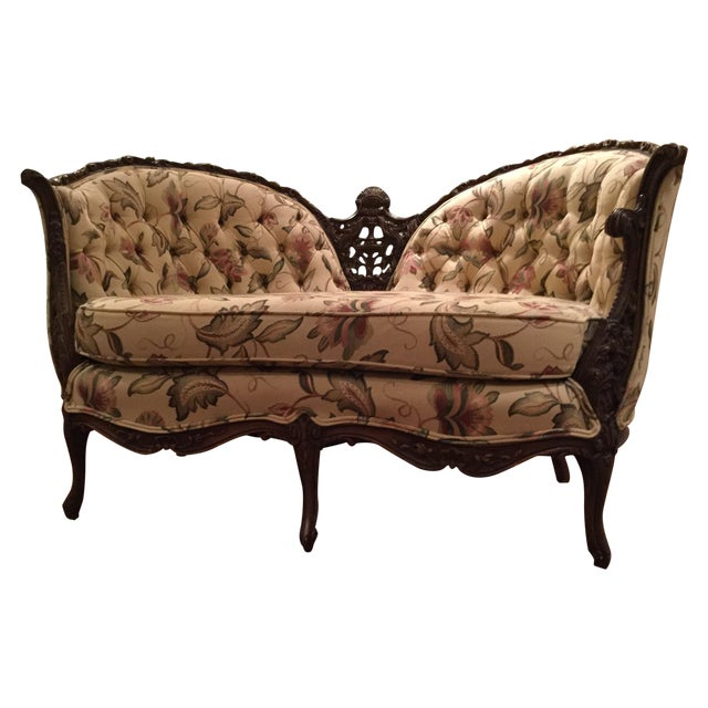 Mid-Century 1950 Floral Pattern Settee - Image 1 of 7
