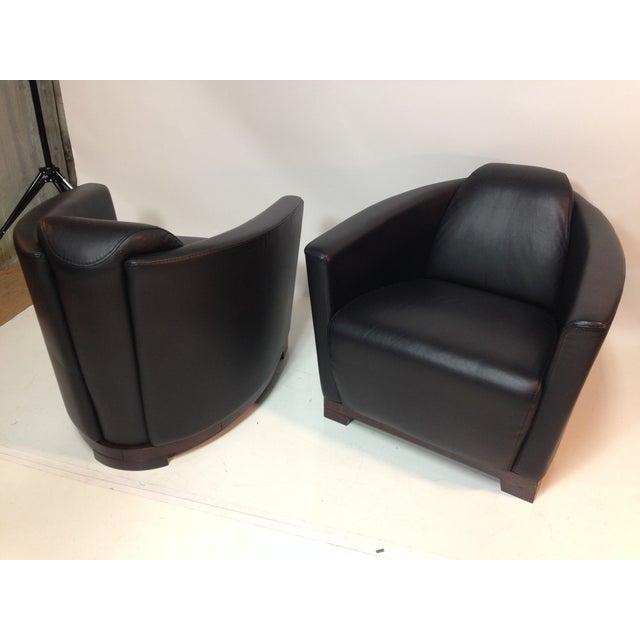 Image of Black Leather Italian Club Chair