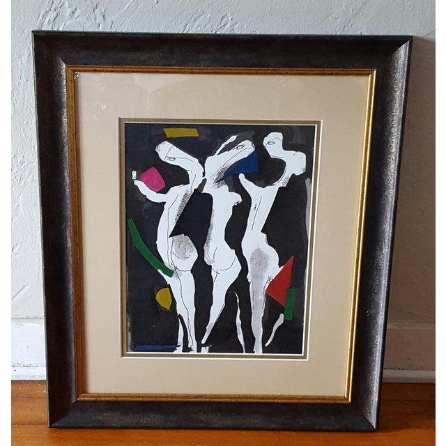 Image of Abstract Dancers Gouache On Paper Painting