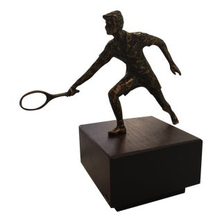 C. Jere Tennis Player Bronze Sculpture, Signed
