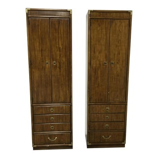 Pair of Campaign Style Bookcases by Drexel