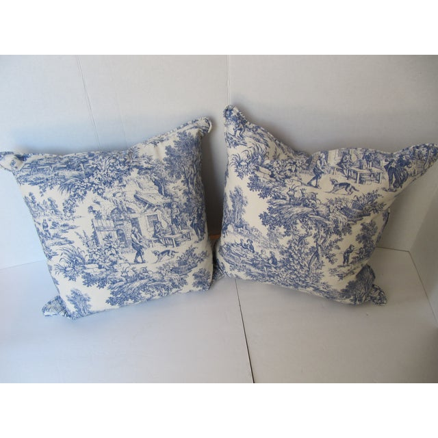 Blue & White Toile De Jouy Pillows - A Pair - Image 2 of 9