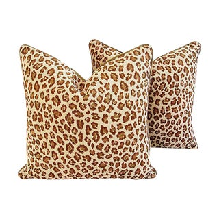 Custom Safari Leopard Velvet Pillows - a Pair