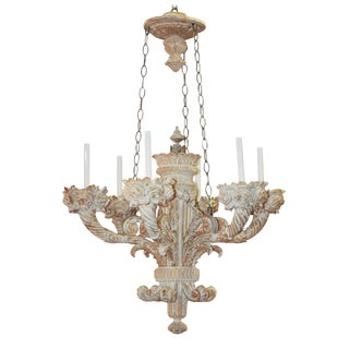 19th c. Italian Carved Whitewashed Chandelier