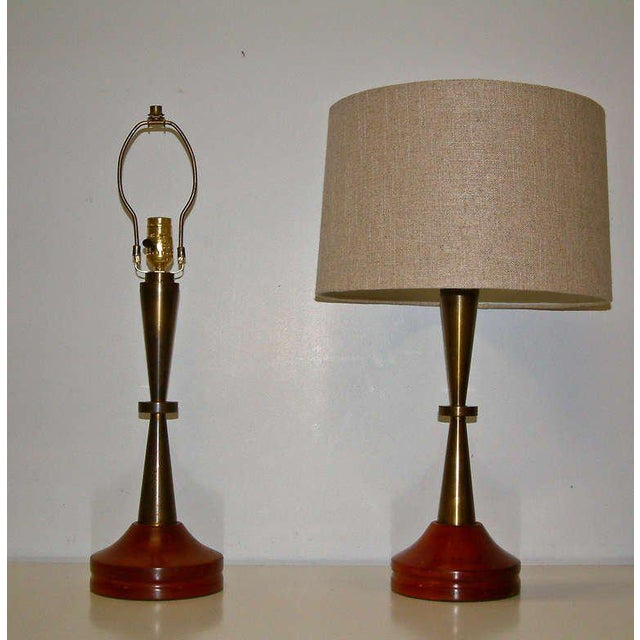 Bronze and Primavera Finish Wood Base Lamps - A Pair - Image 3 of 8