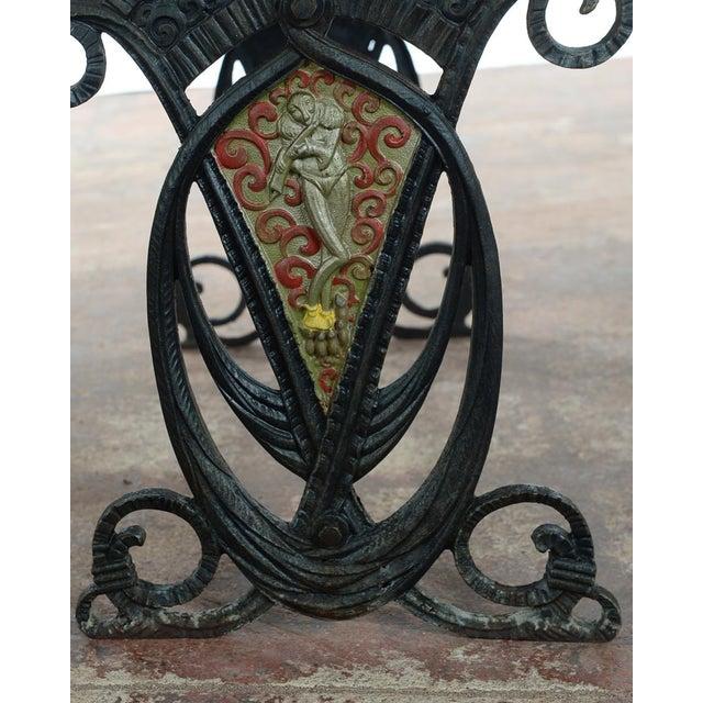 Image of Art Nouveau 1880s Cast Iron Velvet Bench Chair