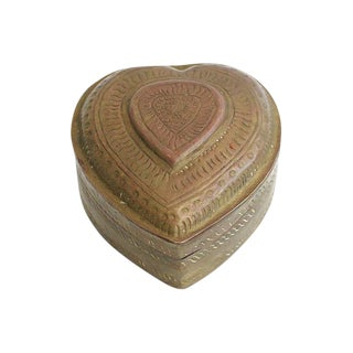 Hand-Crafted Brass Heart Box