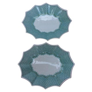 """Oval Mottahedeh """"Lace"""" Fluted Trays - A Pair"""