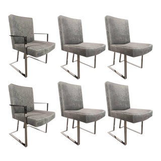 Set of Six Midcentury Chrome and Platinum Velvet Modern Chairs by Milo Baughman