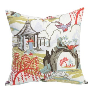 Coral Asian Toile Chinoiserie Pillow Cover