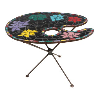 Italian Tripod Multicolored Biomorphic Ceramic Top Side Table.