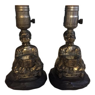 Vintage Chinoiserie Figural Lamps - A Pair