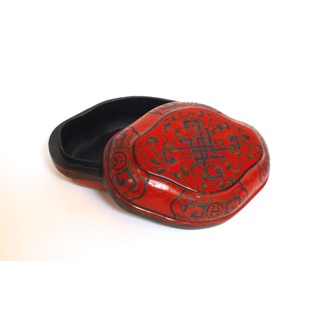 Chinese Red Lacquer Lozenge Shaped Box - Image 3 of 5