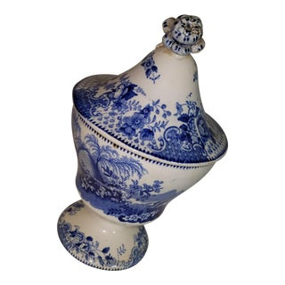 19th Century Staffordshire Blue & White Sugar Bowl With Lid