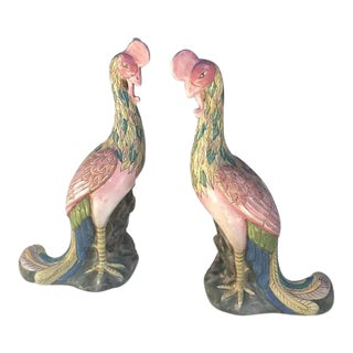 Vintage Chinese Porcelain Peacock Statue Chinoiserie Set - A PAIR